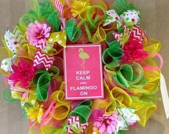 Spring Wreath, Summer Wreath, Flamingo Wreath, Deco Mesh Wreath. Geo Mesh Wreath