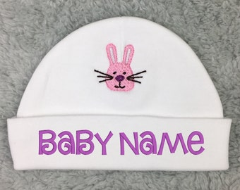Personalized baby hat with bunny - micro preemie, preemie, newborn - baby shower gift, newborn gift, newborn pictures, NICU hat, Easter hat