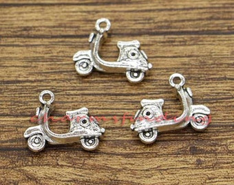15pcs Motor Scooter Charm Transport Charms Antique Silver Tone 19x15mm cf1760