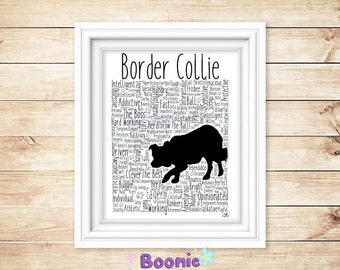 """Border Collie Print Art Work Typography On A4 Top Quality Card 10""""x8"""""""