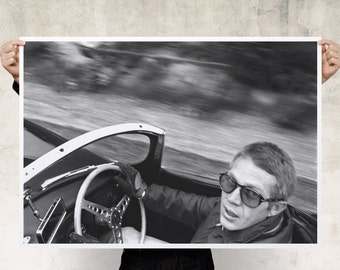 Steve McQueen Driving His Jaguar Print Poster
