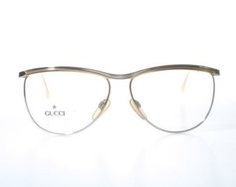 Made In Italy Vintage Gucci Model 2220 Colour Code 63A Gold/Silver Unisex Eyeglasses Sunglasses Vintage