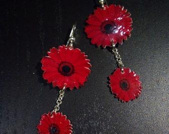 Handmade Red flower earrings, light earrings, shrink plastic jewelry, gift idea, Valentine's Day, gift for you, handmade