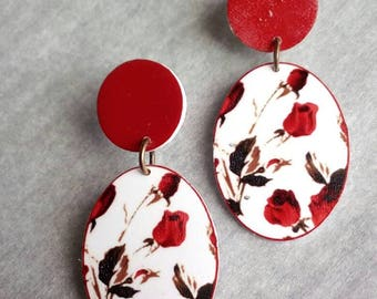 light red roses earrings studs