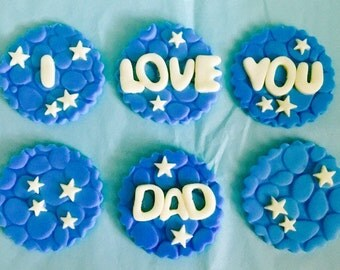 Father's Day I Love You Dad Cupcakes Toppers
