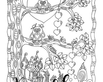 Valentine's- Love In The Air, 1 Adult Coloring Book Page, Printable Instant Download, Owls