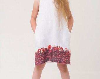 STYLISH white linen dress, Flower girl dress, Birthday dress, girl linen dress, girl dresses Girl summer dress Girl summer clothes, handmade
