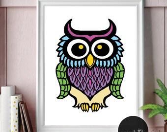 Owl Print, Forest Friends, Children's Wall Art, Nursery Art, Kids Room Decor, Kids Wall Art, Animal Art, Wall Art, Home Decor, Wall Signs