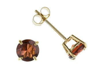 9ct Yellow Gold 5mm Round Natural Garnet Stud Earrings