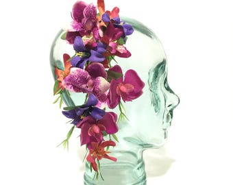 Oversized Cascading fuschia and orange orchids with purple lilies tropical tiki hawaiian hair flower clip