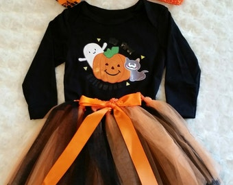 FREE SHIPPING !!!  0-3mo Halloween Outfit, Reborn Halloween Outfit, Halloween Baby shoes, Halloween Baby Headband, First Halloween Outfit