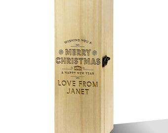 Personalised Wishing You A Merry Christmas Luxury Wooden Wine Box
