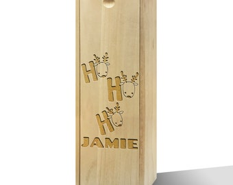 Personalised Ho Ho Ho Reindeer Wooden Wine Box