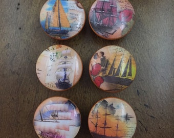 1.5 inch sailing ships masted schooners vintage antique