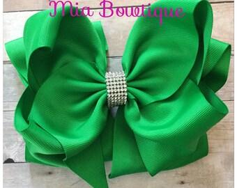 Ready to Ship! Rhinestone Green Hair Bow, XXL Green Hair Bow,  Jumbo Green Hair Bow, Large Green Hair Bow, Christmas Hair Bow