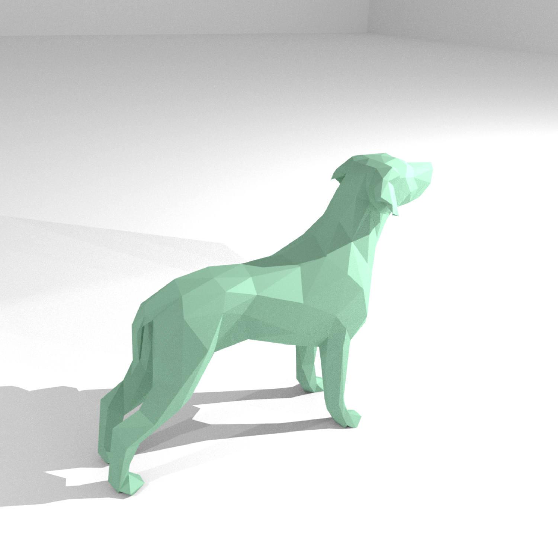 Printable Diy Template Pdf Dog Low Poly Paper Model 3d