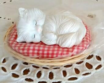 SALE! Vintage White Cat Sleeping in Basket, George Good Sleeping White Persian Cat, Cat Figurine, Cat in Bed