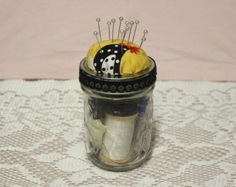 Black and White Sewing Kit, Chicken Pincushion, Sewing Kit, Jam Jar Sewing Kit, Jam Jar, Sewing Supplies, Craft Supplies, Birthday Gift