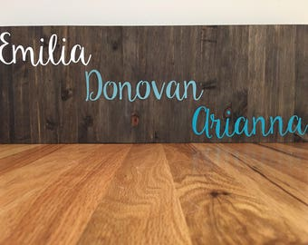 Family Sign//Rustic Family Sign//First Names Sign//Custom Family Sign//Home Decor//