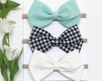 Baby Headband Set - Aqua, Gingham, and White - Baby Headband - Clips or headbands