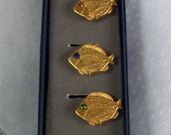 Lot of Five Button Covers - Goldtone Metal Fish
