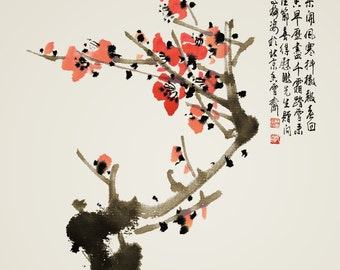 Chinese traditional painting plum blossom painting