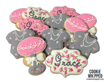 Baby Shower Cookies - Roses and Pearls - 2 Dozen