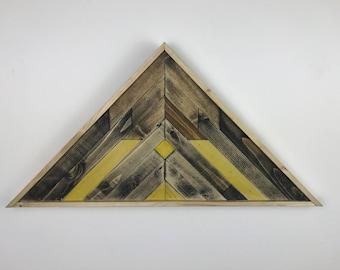 Lath Mountain Art Yellow, Rustic Wall Art Wood, Reclaimed Lath Mountains, Reclaimed Lath Art, Reclaimed Wall Art, Industrial Wall Art Wood
