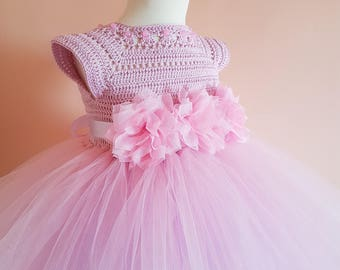 tutu dress, pink and lavender tutu dress, wedding dress, flower girl dress, bridesmaid dress,crochet dress, baptism dress,crochet yoke dress