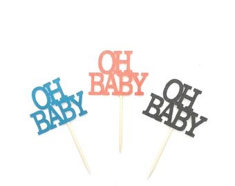 12 Glitter Oh Baby Cupcake Toppers, Gender Reveal Decor, Baby Shower Cupcake Topper, Baby Boy, Baby Girl, Boy or Girl, Baby Cupcake Topper