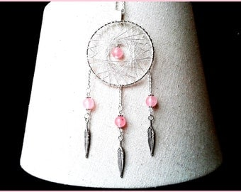 Saltire Dreamcatcher metal pink jade silver