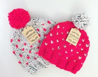 Scarlet & Grey Cozy Heart Hat