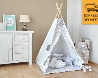 Tipi - Kids Play Tent Teepee - Tiny Grey Dots