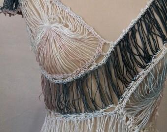 Handmade Crochet Fringe Dress Embellished with Beads