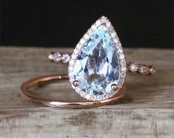 Art Deco Aquamarine Engagement Ring Set 3.0ct Pear Cut Aquamarine Ring&Plain Wedding Ring Set 14K Rose Gold Bridal Ring Set Birthstone Set