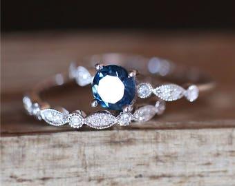 Art Deco Ring Set Natural 5mm Round Cut London Blue Topaz Engagement Ring Set Half Eternity Diamond Wedding Ring Set 14K White Gold Ring Set