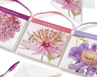 Set of 8 luxury floral notecards. Blank inside. 125 x 125mm. Folded. Ideal as a thank you, an invitation or gift. Free UK delivery.