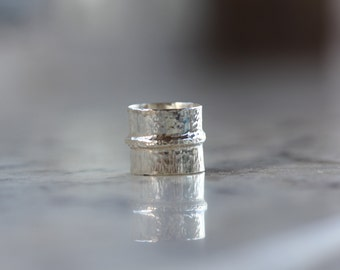 Sterling Silver form folded wide band ring - handmade