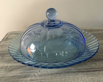 Blue Glass Covered Dish Butter Dish