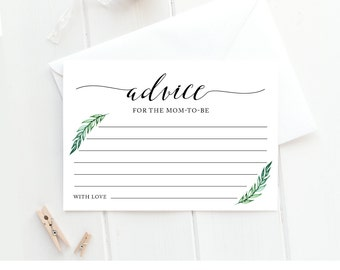 Advice Card Printable, Baby Shower Games, Baby Advice for Mom or Parents to be, Well Wishes, Green Laurels, Instant Download, PDF #013AC