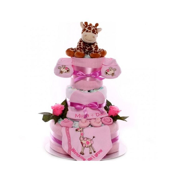 Watch Me As I Grow Nappy Cake Baby Girl, baby girl nappy cake, nappy cake gift idea, nappy cakes for girls, gift new baby girl, nappy cake