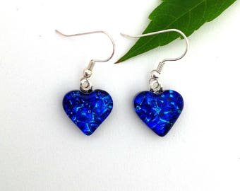 Texture blue with turquoise highlights dichroic glass earrings