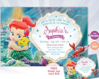 mermaid invitation - Baby Mermaid invitation - personalized - ariel princess - ariel invitation