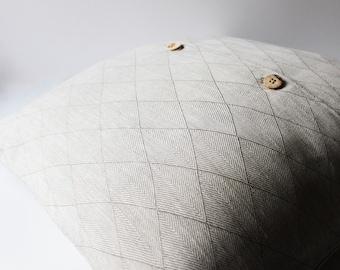 Rhombus Linen Pillow Cover, Linen  Pillow Covers 20x20, 18x18, 16x16, 24x24, Linen Pillow, Grey Linen Pillow case