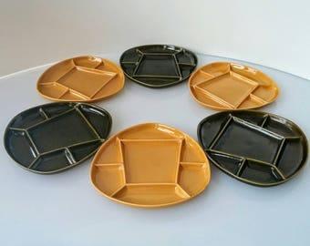 Vintage Fondue plates | Sunburst Canada Pottery, Mid Century Fondue Plates, Set of 6 Fondue, Green Fondue, Yellow Fondue Plates