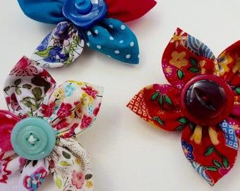fabric flower brooch, red flower brooch, flower pin, boho flower brooch, festival accessories, gift for teacher, blue flower pin, red badge