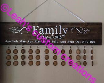 Family celebration board, family calendar, wall calendar, display, birthday plaque, customized wall décor, personalized wall art, birthday