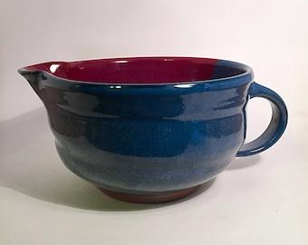pottery bowl, stoneware batter bowl, pottery mixing bowl, batter bowl, red pottery, blue mixing bowl, blue pottery, ceramic bowl