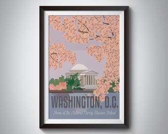 Washington DC | Cherry Blossoms | Travel Poster | Instant Download