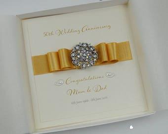 Luxury Golden Wedding Anniversary Card Handmade 50th Wedding Anniversary Card Boxed Card Personalised Wedding Anniversary Card